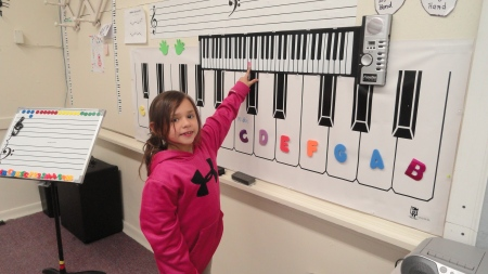 Learning her piano keys in Younger Children's Class